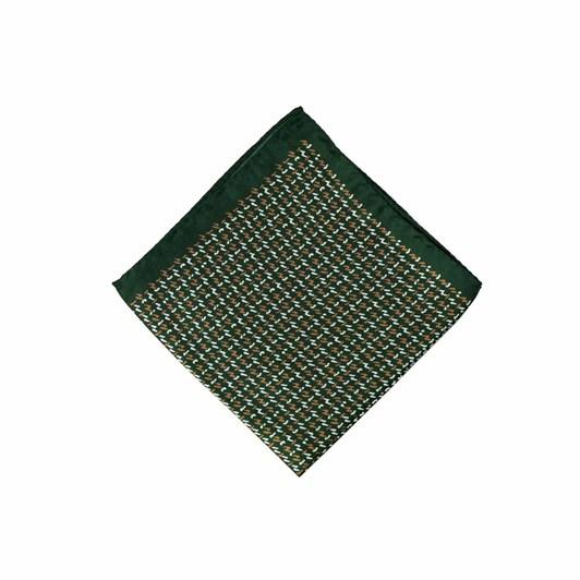 Monti Castello 100% Silk Pocket Square - Green Bronze Morse Code Neat