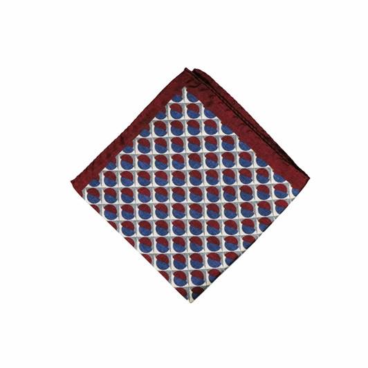 Monti Castello 100% Silk Pocket Square - Wine Blue Mid Sizes Geometric