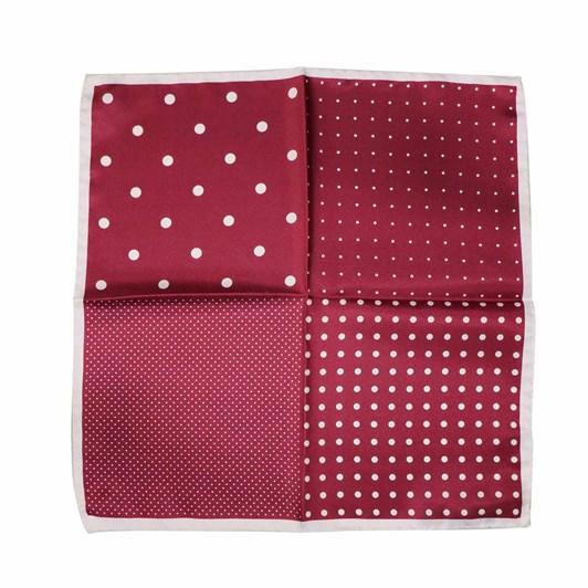 Monti Castello 100% Silk Pocket Square - Wine And White Dots And Spots