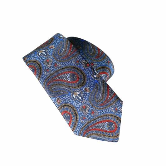Monti Castello 100% Silk Tie - Antique Blue Printed Paisley