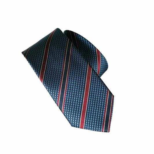 Monti Castello 100% Silk Tie - Navy Red Textured Check Stripe