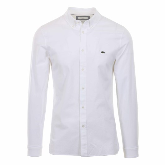 Lacoste Ls Slim Stretch Oxford Shirt White