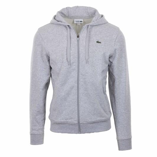 Lacoste Essentials Zip Front Hoodie Silver