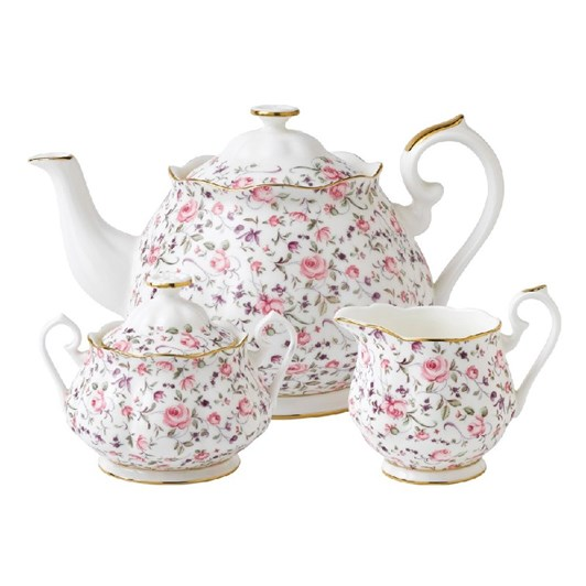 Royal Albert Rose Confetti Teapot/ Sugar/ Creamer Set
