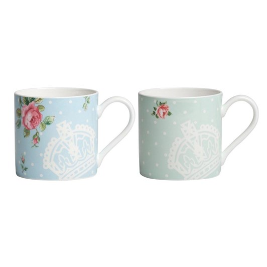 Royal Albert Set of 2 Mugs Polka Rose - Polka Blue