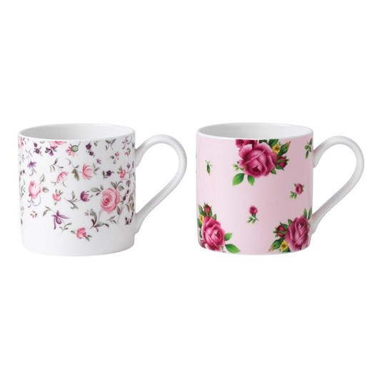 Royal Albert Set of 2 Mugs Rose Confetti + New Country Roses Pink