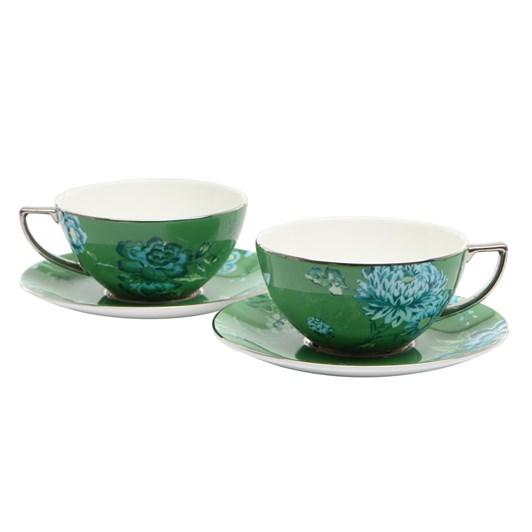 Wedgwood Jasper Conran Chinoiserie Green Tea Cup & Saucer Pair Boxed
