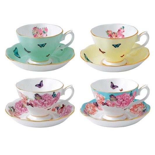 Royal Albert Miranda Kerr Set of 4 Teacups & Saucers