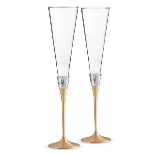 Wedgwood Vera Wang With Love Gold Flute Pair