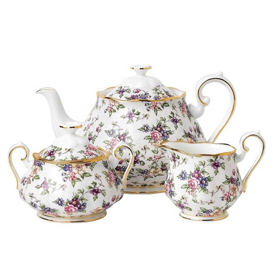 Royal Albert 100 Years Teaware 1940 Teapot, Sugar, Creamer Set