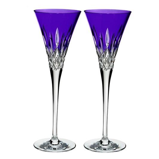 Waterford Lismore Pops Purple Flute Pair