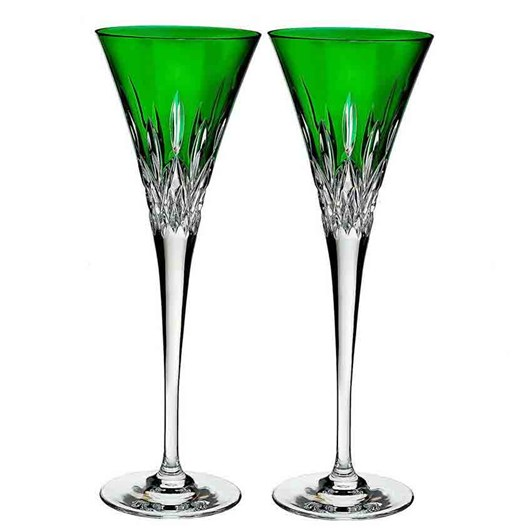 Waterford Lismore Pops Emerald Toasting Flute Set of 2