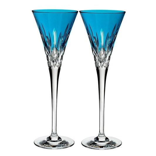Waterford Lismore Pops Aqua Flute Pair