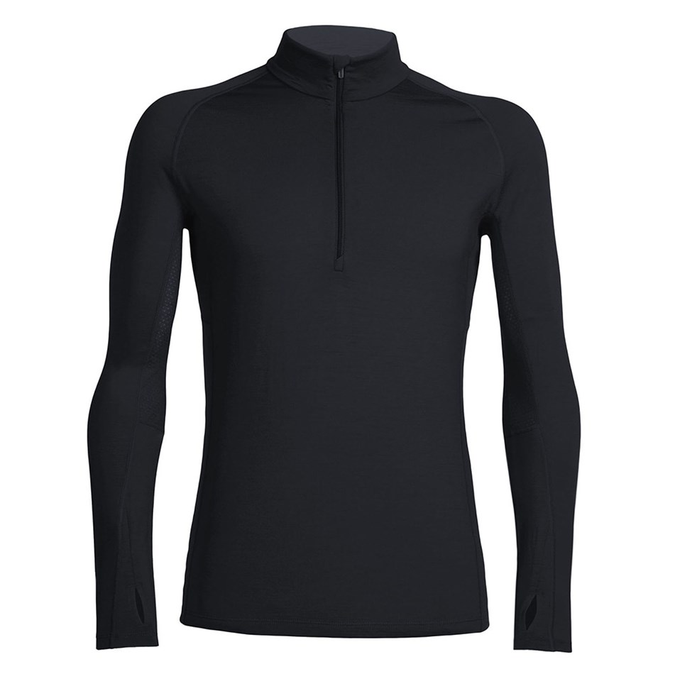 Icebreaker Mens Zone LS Half Zip - blackmonsoon