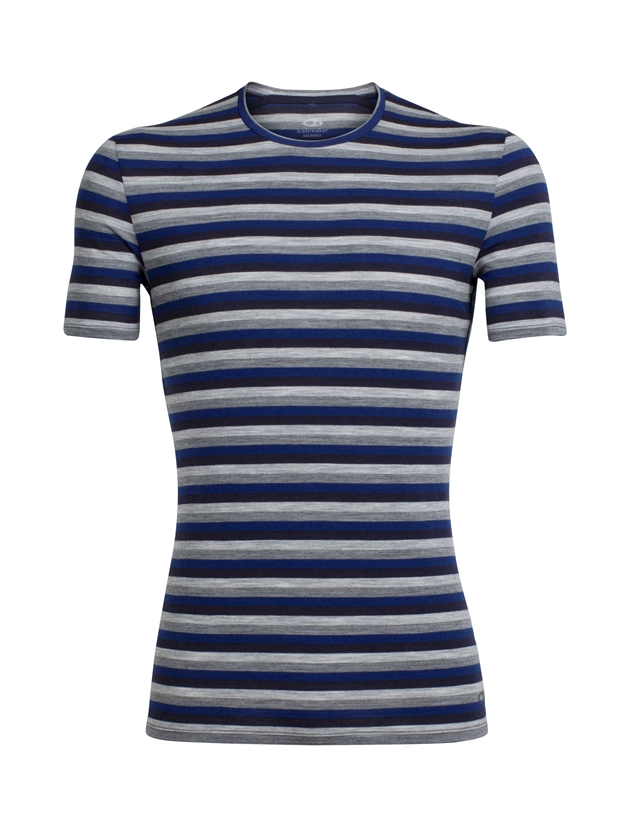 Icebreaker Mens Anatomica SS Crewe - 409-largo midnight navy stripe