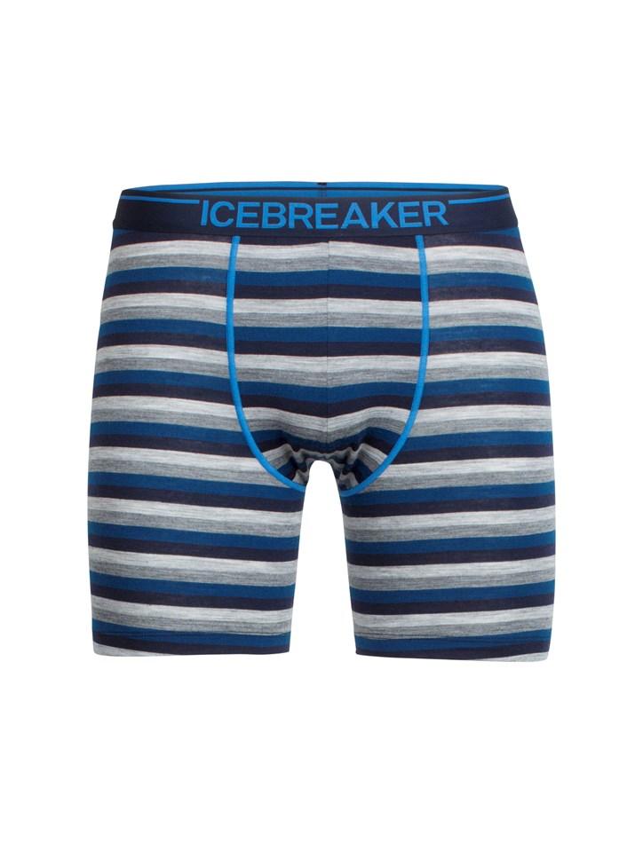 Icebreaker Mens Anatomica Long Boxers - 405-largo midnight navy stripe