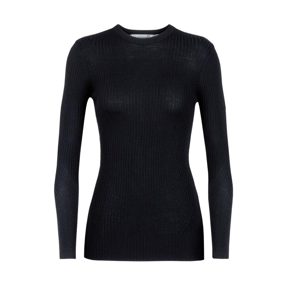 Icebreaker Womens Valley Slim Crewe Sweater - 001-black