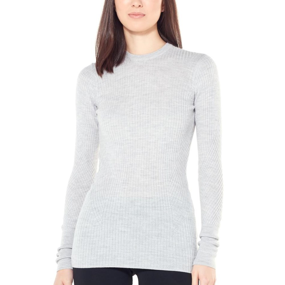 Icebreaker Womens Valley Slim Crewe Sweater - 002-steel hthr