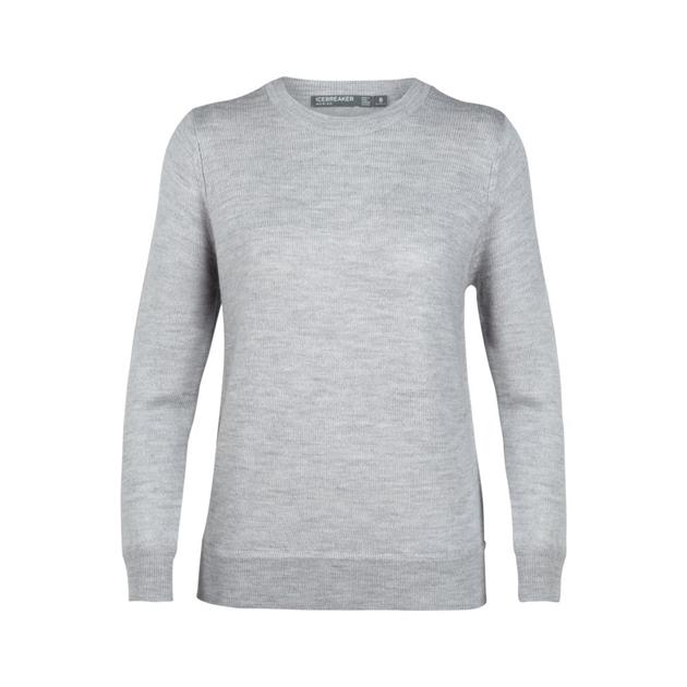 Icebreaker Womens Muster Crewe Sweater - 002-steel hthr