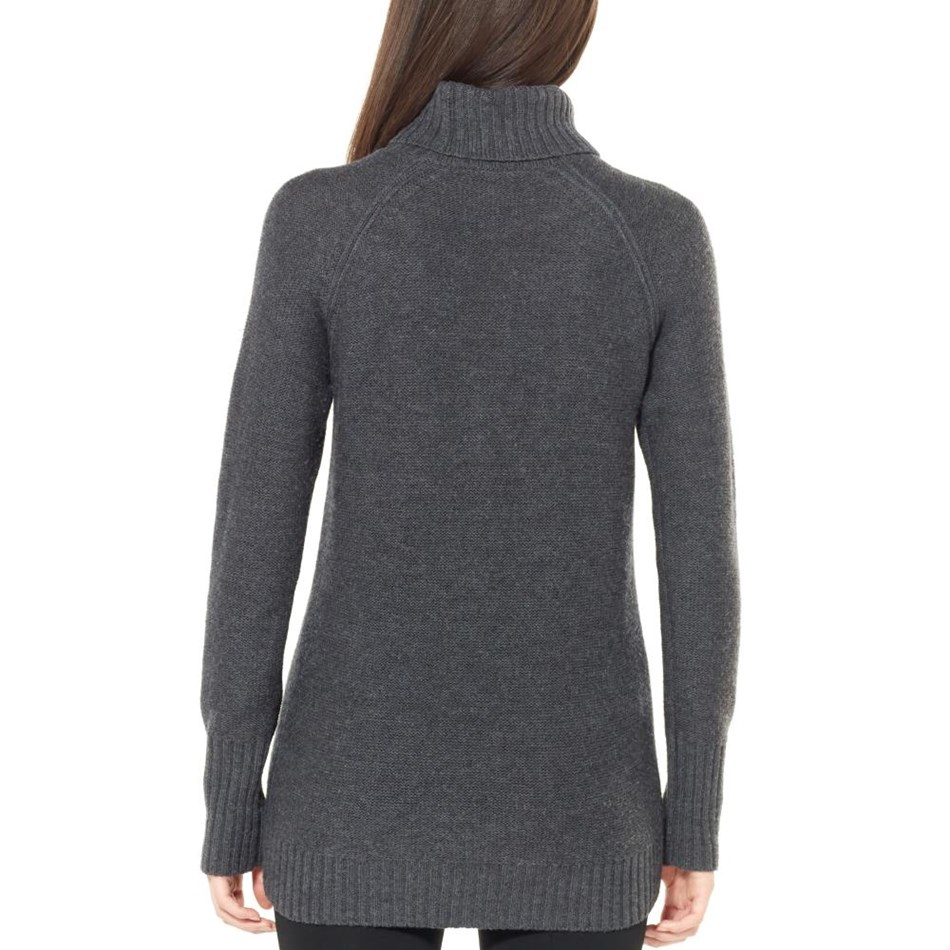 Icebreaker Womens Waypoint Roll Neck Sweater - 001-char hthr