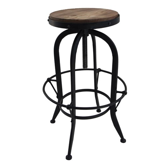 French Country Workshop Stool Black