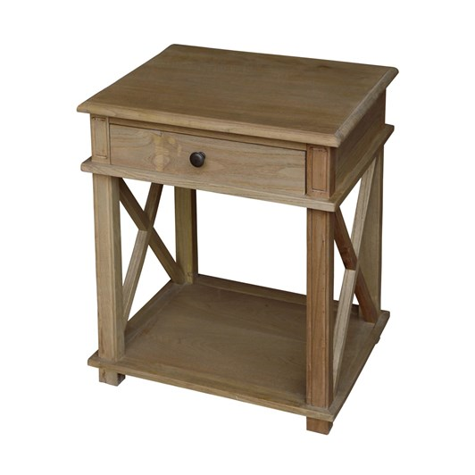French Country Villa Oak Bedside Table