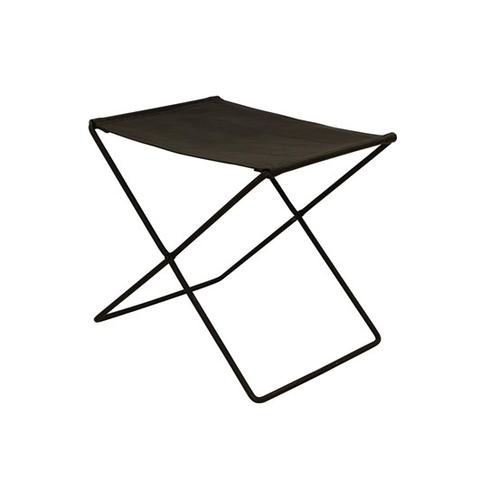 French Country Palma Leather Stool Black
