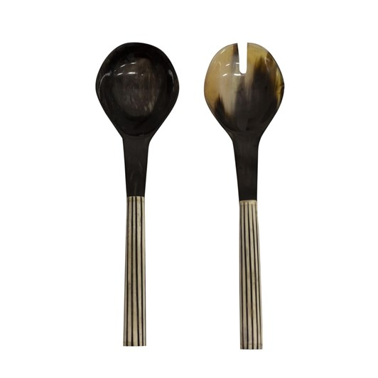 French Country Black and White Striped Salad Servers