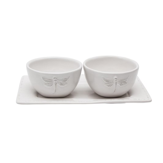French Country White Dragonfly Ceramic Condiment Set