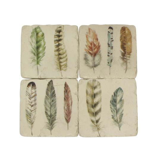 French Country Set of 4 Feather Resin Coasters
