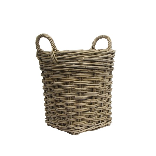 French Country Small Round Wood Basket with Handle