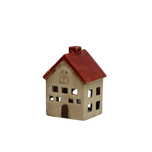 French Country Short Red and White Tea Light House