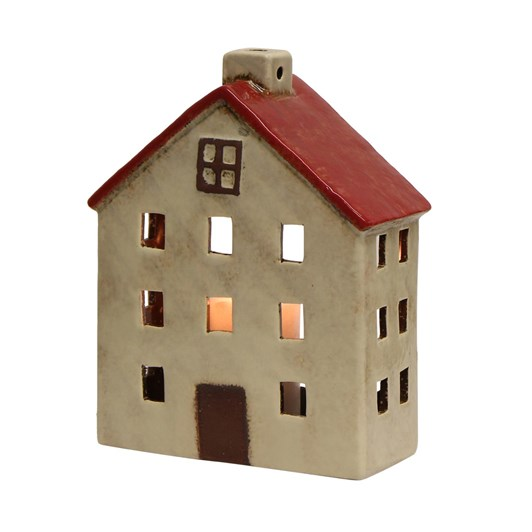 French Country Wide Chalet Tea Light House Red White