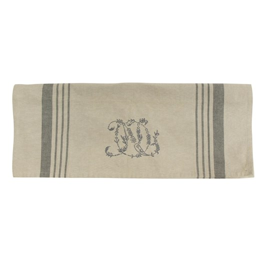 French Country Natural Linen Pale Grey Stripe Monogram Teatowel