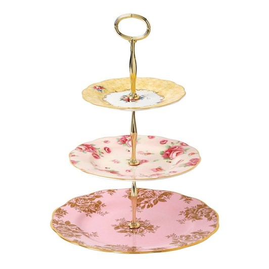 Royal Albert 100 Years 3 Tier Cake Stand: 1960, 1980, 1990