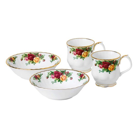 Royal Albert Old Country Roses Mug & Bowl Set of 4