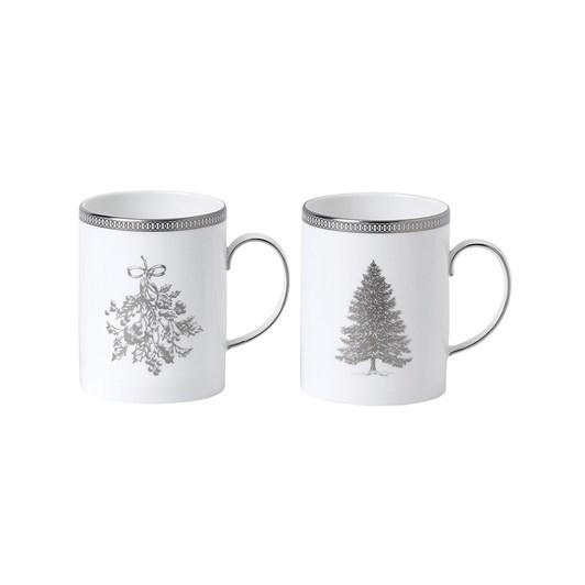 Wedgwood Christmas Winter White Mugs Set of 2