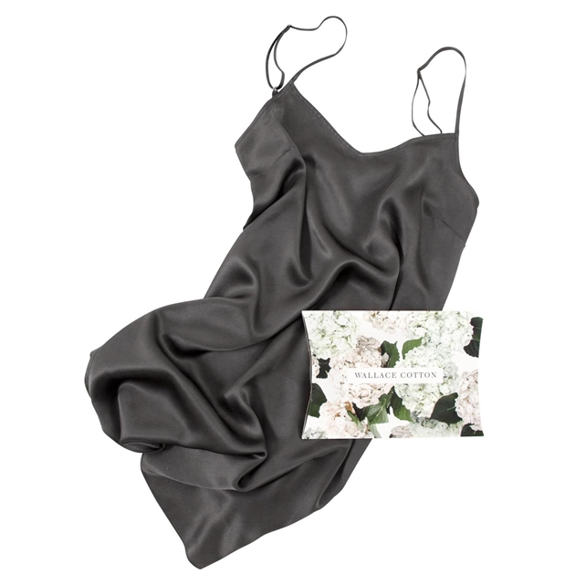 Wallace Cotton Silk Strappy Nighty - charcoal