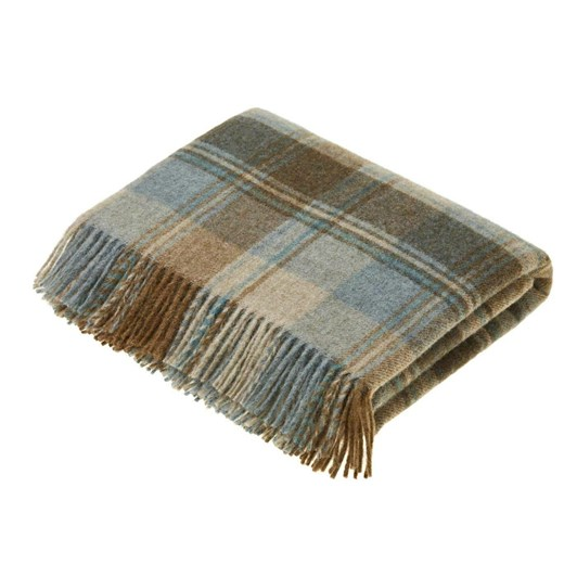 Bronte Snowshill Eau De Nil Check Pure New Wool Throw