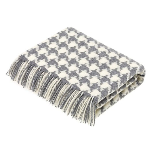 Bronte Houndstooth Grey Lambswool Throw