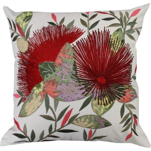 Mulberi NZ Pohutukawa Embroidered Cushion 45x45cm