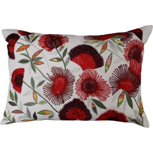 Mulberi Pohutukawa Bunches Embroidered Cushion 35x50cm