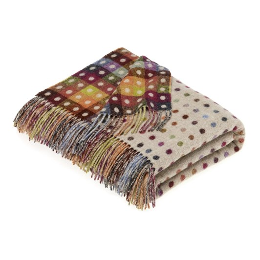 Bronte Beige Multi Spot Lambswool Throw