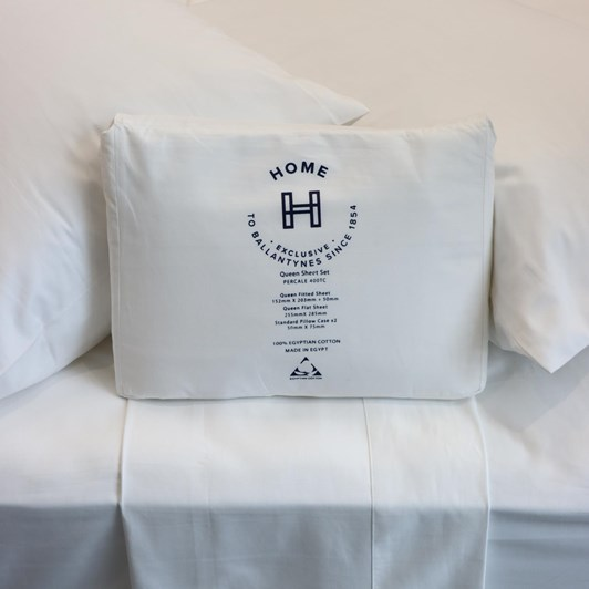 J Ballantyne & Co 400tc Percale White Sheet Set