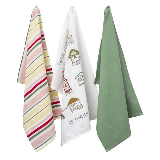 Wallace Cotton Beach Hut Tea Towel Set Of 3
