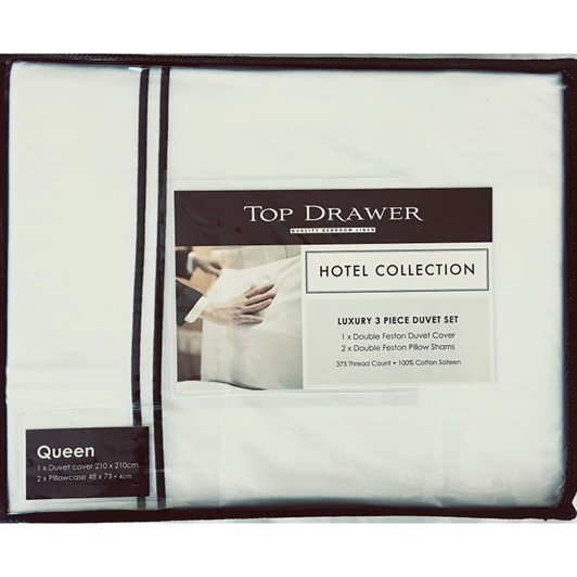 Top Drawer Hotel Collection Double Festoon Duvet Set 375 Thread Count