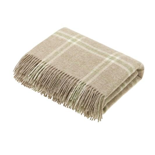 Bronte Transitional Travertine Windowpane Wool Throw