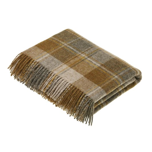 Bronte Snowshill Mustard Check Wool Throw
