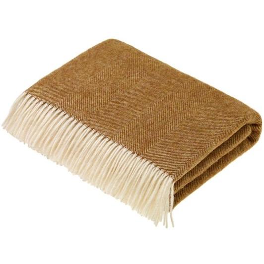 Bronte Herringbone Gold Wool Throw