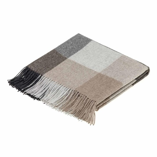 Bronte Distinction Diamond Herringbone Alpaca Natural Grey Throw130 x 200cm